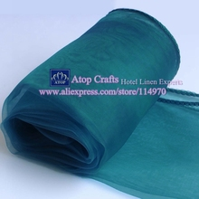 50pcs 30 X 275cm Fashion Teal Blue Wedding Decorative Organza Table Runners  Party Banquet Table Runners For Hotel Event Supplies