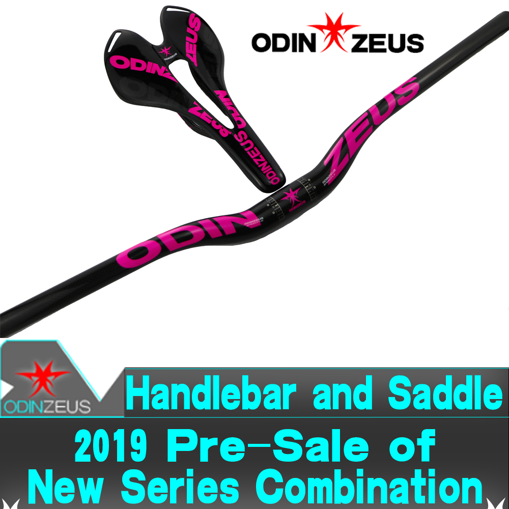 ODINZEUS Newest Hot-Pink HOT Sale Full Carbon Flat/Rise Handlebar MTB/Road Bike + Bicycle Saddle bicycle parts