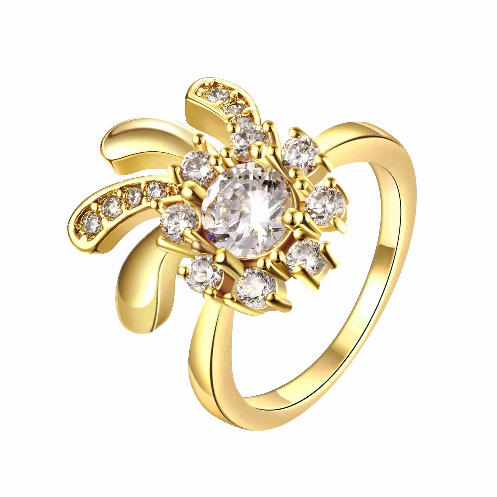 ᗛhot sell NEW women jewelry gold color rings for women Flowers in