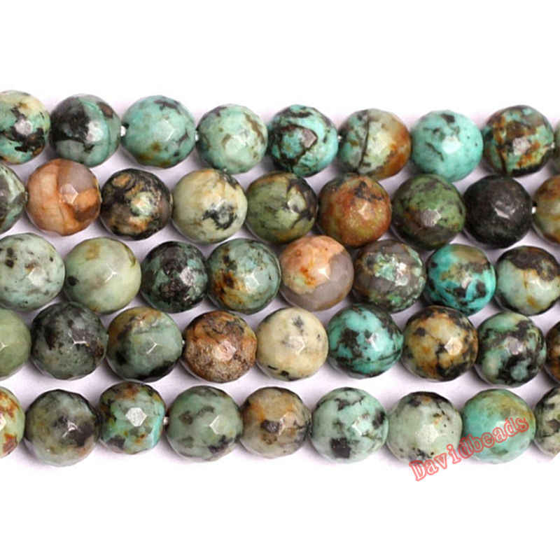 "Factory Price New Arrival Faceted African Turquoises Gem Beads 15"" Strand 6 8 10 mm Pick Size For Jewelry Making JD539"