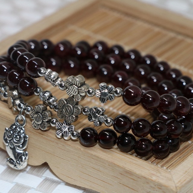 Hot sale multilayers 3 layer 6mm natural garnet round beads beaded bracelets high quality semi-precious jewelry 7.5inch B2102