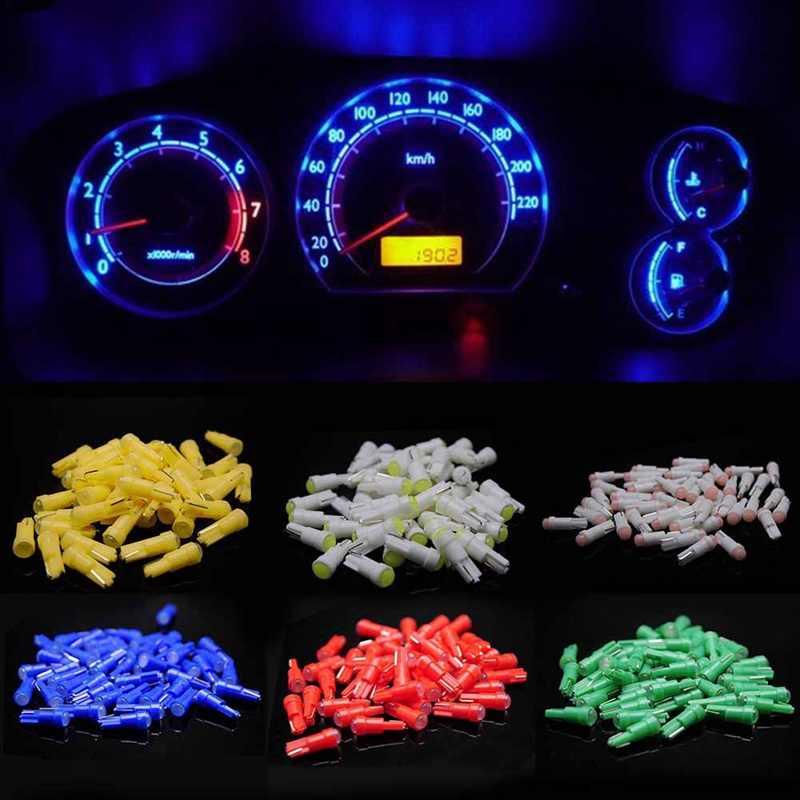5Pcs Putih Biru 12V T5 Tongkol Mobil Dashboard Lampu Instrumen Mobil Door Baji Gauge Membaca Lampu Bohlam Mobil styling