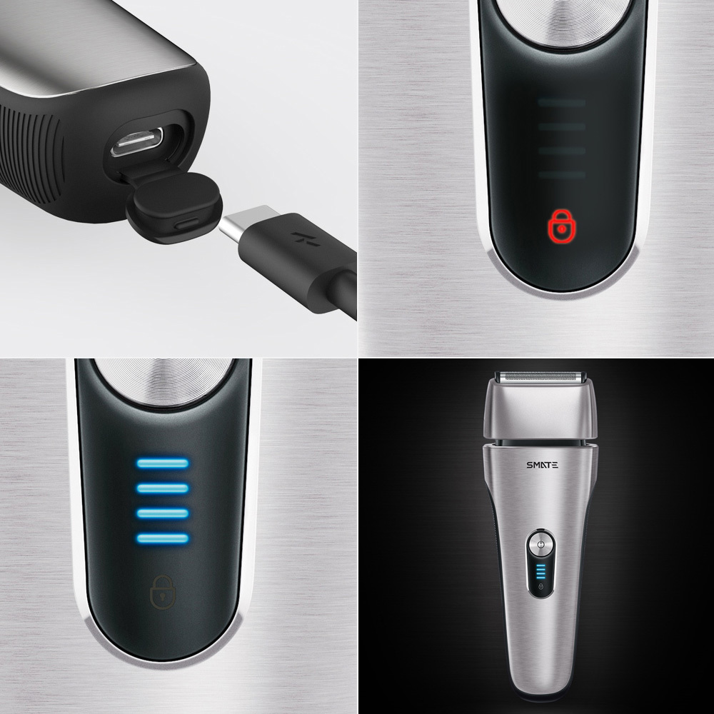 Xiaomi Mijia SMATE Electric Razor Reciprocating 4 Blade Electric Shaver 3 Minute Fast Charge Water Resistant Men Male Shaver - 4