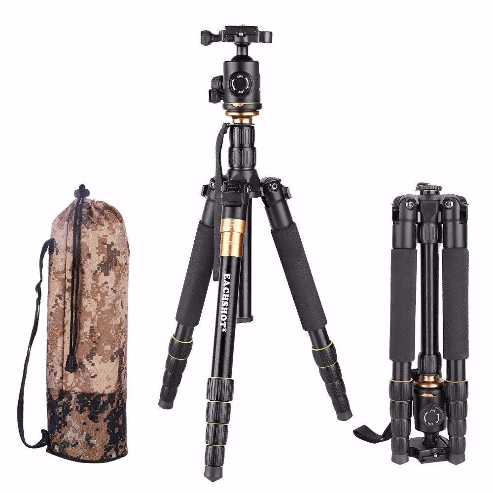 QZSD Tripé Com Q-02 Q666 360 Graus Cabeça Giratória Fluid para nikon Canon Sony Pentax Olympus Camera Alumínio Tripé Flexível