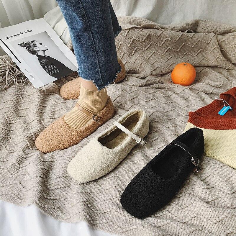 Noir Automne Eoeodoit Ballerines Carré Printemps Bout beige 2019 Date Dame Femmes kaki Plat Rétro Douce Chaussures Talon Bouclés FwZxYFrp