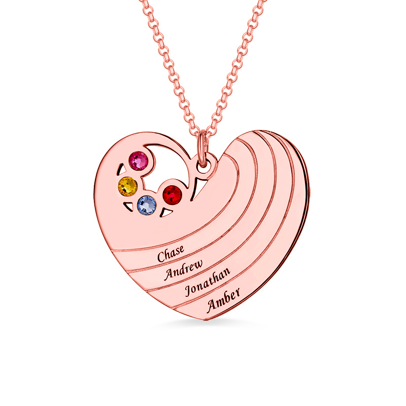 купить AILIN Personalized Love-Heart Necklace With 4 Family Birthstone&Name In Rose Gold Hearts For Women Love Pendant For Girlfriend недорого