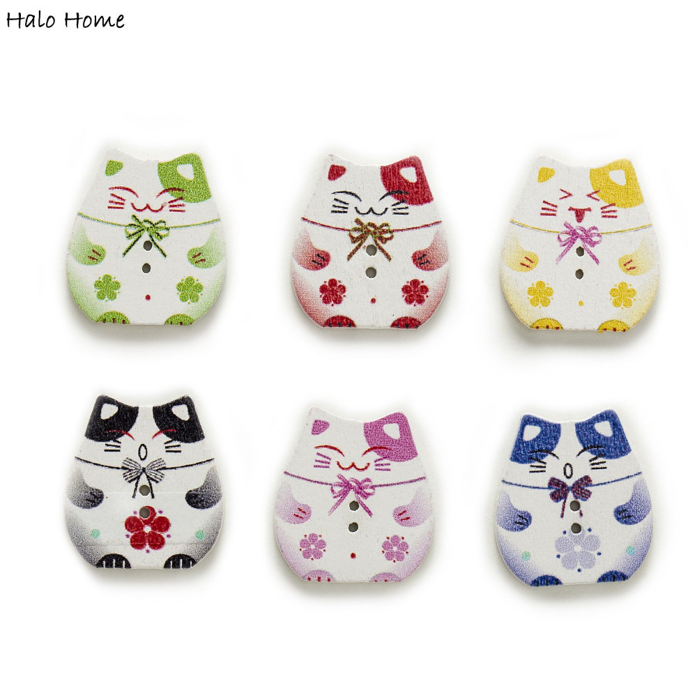 50pcs 2 Hole Mixed Lucky Cat Wood Buttons Sewing Scrapbooking Home Decor Crafts Clothing 25x22mm