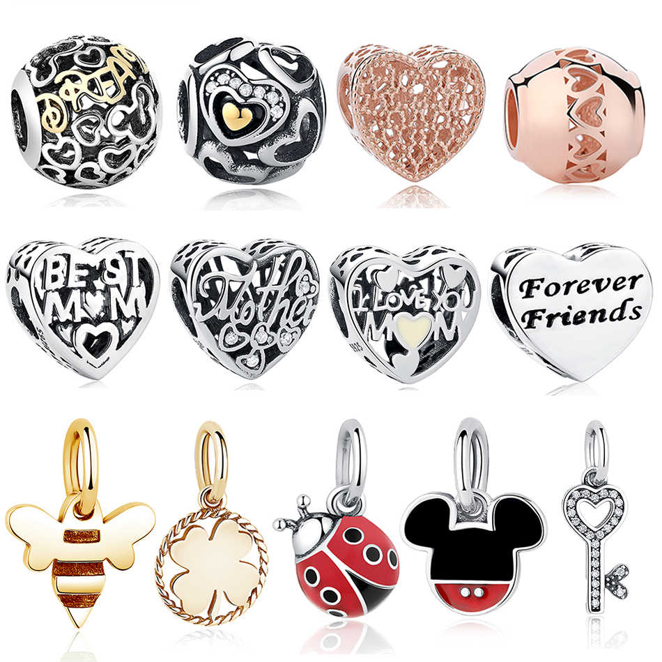 686249154 BELAWANG 2019 New 925 Sterling Silver Love Heart Beads Charms Fit Original  Charms Bracelet with Gold