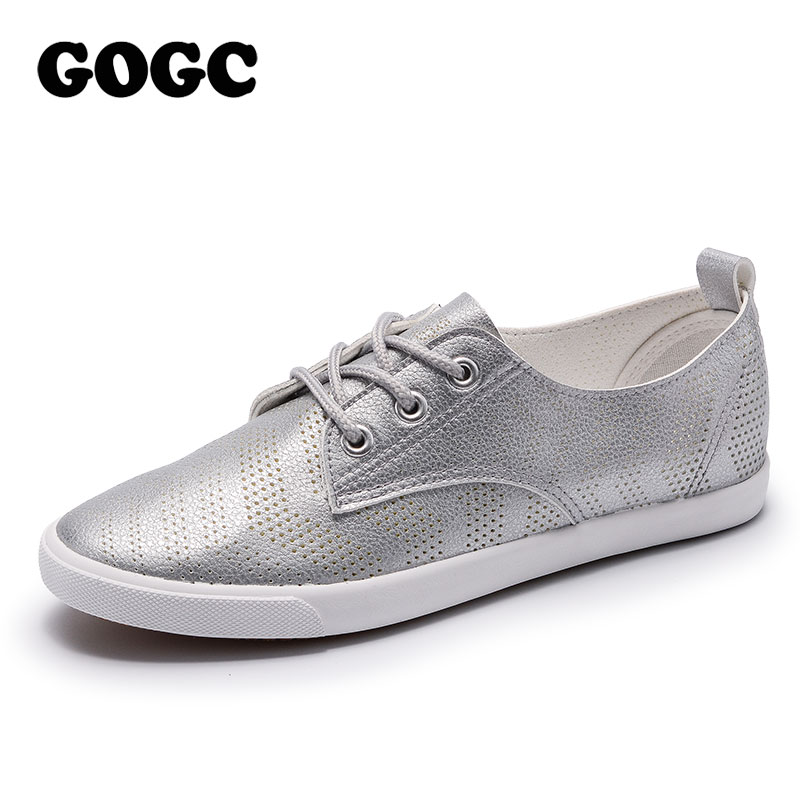 GOGC 2018 New Style Women Shoes with Hole Breathable Women Flat Shoes Women Sneakers Casual Shoes Summer Autunm Lace-Up footwear breathable women hemp summer flat shoes eu 35 40 new arrival fashion outdoor style light