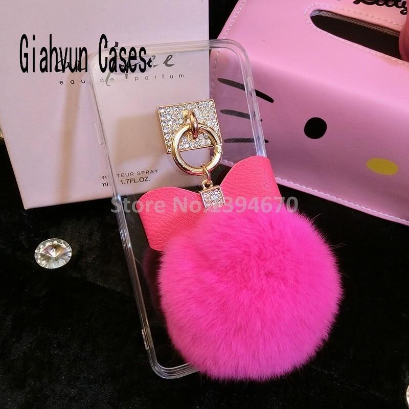 d2e2af8e786 Transparent Soft Phone Case Bling Crastal Diamond Tassel Fake Rabbit Fur  Ball For iPhone X 7 7P 8 8plus 6 6S 6plus 4 5S SE case