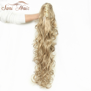 Image 2 - Suri Hair Women HairPiece Ponytail Wavy Claw Fake Hair Extensions 32 inch 220g Black/Blonde 7 Colors Avaliable