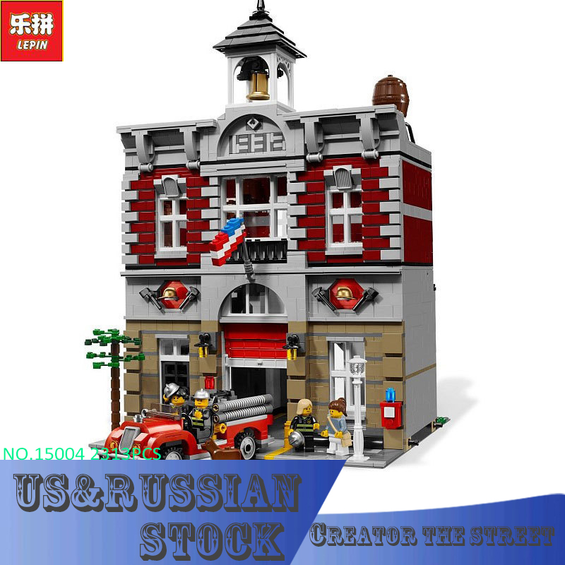 LEPIN Block 15004 2313Pcs City Street Creator Fire Brigade Model Building Kits Blocks Bricks Compatible lepin 15004 2313pcs city creator series fire brigade model building blocks bricks toys for children gift compatible 10197