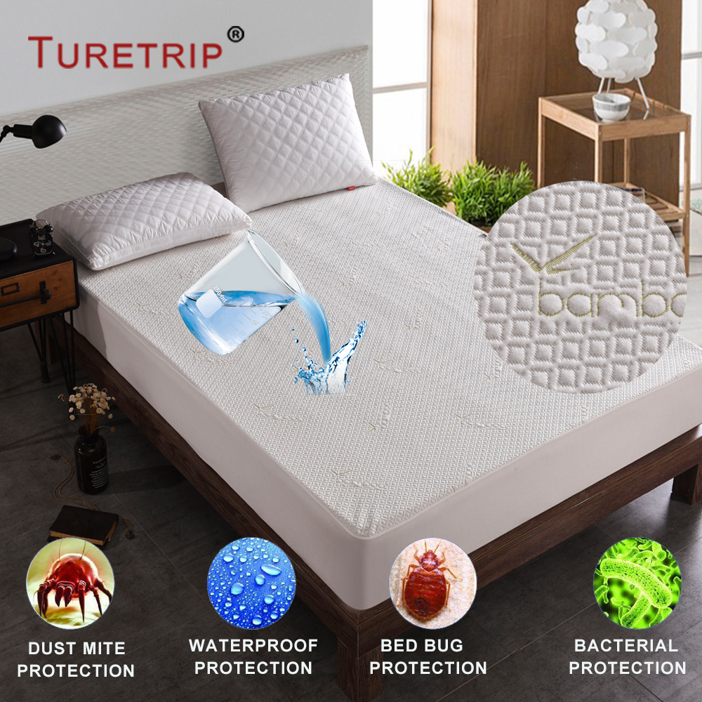 Turetrip Jacquard Bamboo Fiber Waterproof Mattress Pad Cover Anti Mites Mattress Protector Colchao Topper Mattress Bed Cover