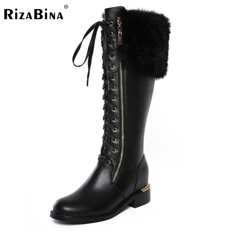 ФОТО RizaBina News Russia Winter Warm Snow Boots Women Real Leather Thickened Fur Knee Boots Woman Flats Zip  Shoes Botas Size 34-42
