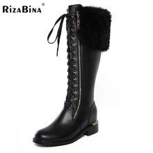 RizaBina News Russia Winter Warm Snow Boots Women Real Leather Thickened Fur Knee Boots Woman Flats Zip  Shoes Botas Size 34-42