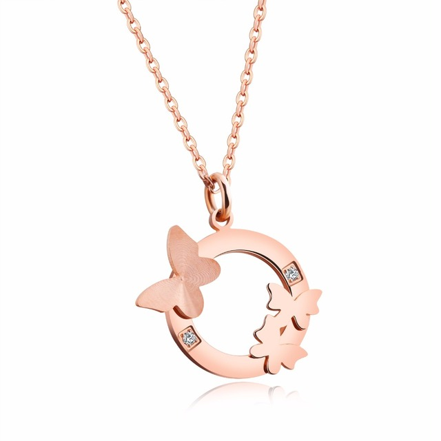 Rose Gold Color Butterfly Circular Necklace Female Pendant Inlay