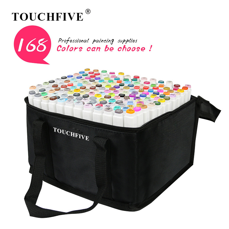TOUCHFIVE 168 Colors Single Art Markers Brush Pen Sketch Alcohol Based Markers Dual Head Manga Drawing Pens Art Supplies image