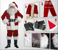 9 in 1 Christmas Santa Claus Costumes Winter Thicken Fancy Cosplay Costumes For Christmas Party Clothing Set Free shipping