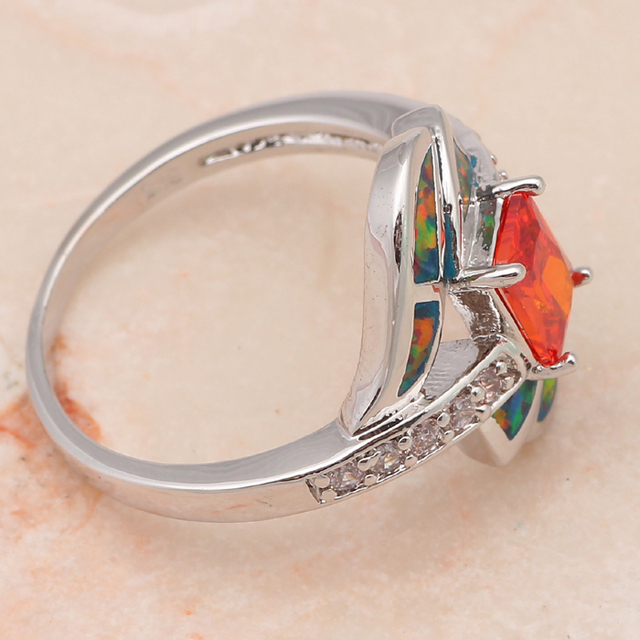 Orange fire opal ring 5