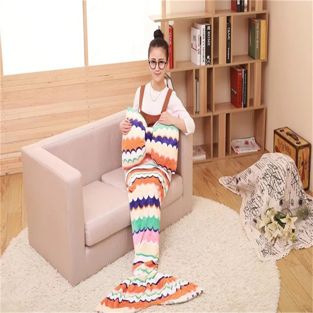 Mermaid Tail blanket and butterfly pillows Mermaid blanket adult throw bed Wrap super soft sleeping bag Coral Fleece For Winter