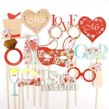 15pcs Red Wedding Photo Booth Props Kit with Gold Foiled Edge on a Stick Signs Outdoor Photography