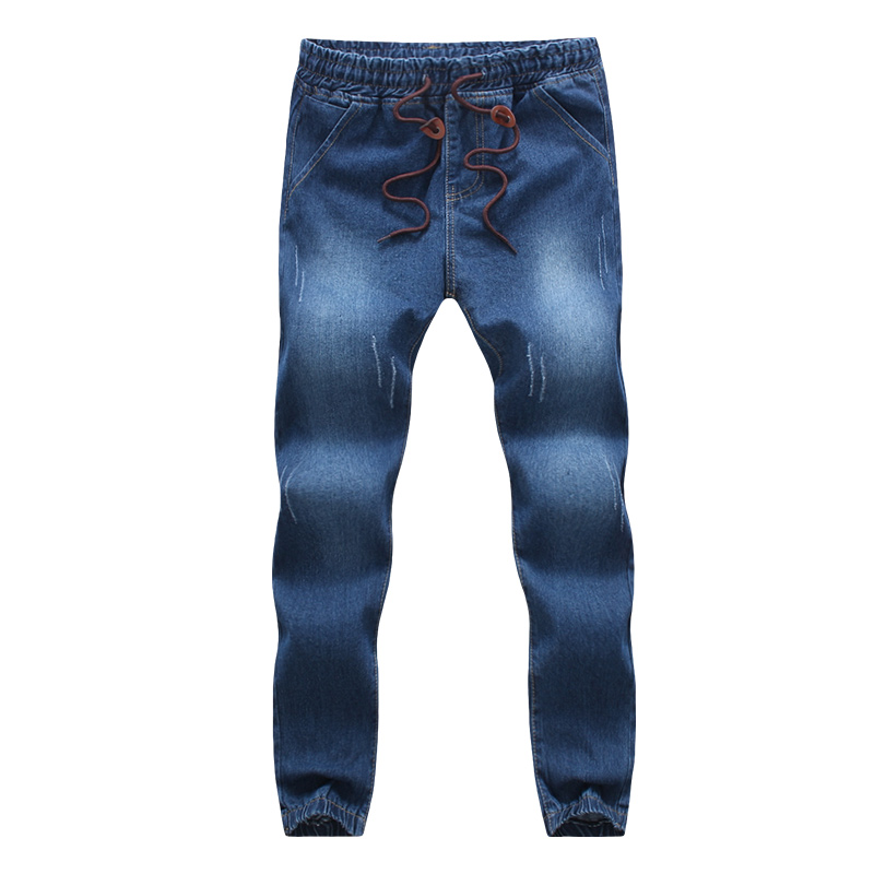 2019 Fashion Casual Solid Blue Denim   Jeans   Joggers Elastic Waistband Drawstring Men Washed Hip Hop Harem Pants Hot Sale