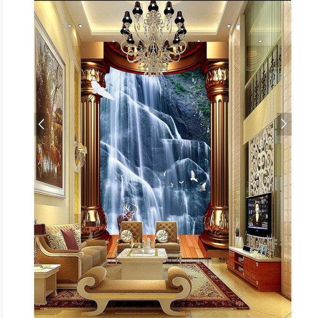 Good Home Decor Wall Paper 3d Art Mural Waterfall Background Golden Pillars  Covering Modern Wall Painting For