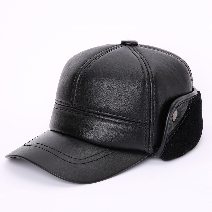 High Quality Genuine Leather Sheepskin Leather Baseball Cap For Men Winter Hat For Male Warm Hat With Ear flap Solid Russian Hat new high quality warm winter baseball cap men brand snapback black solid bone baseball mens winter hats ear flaps free sipping