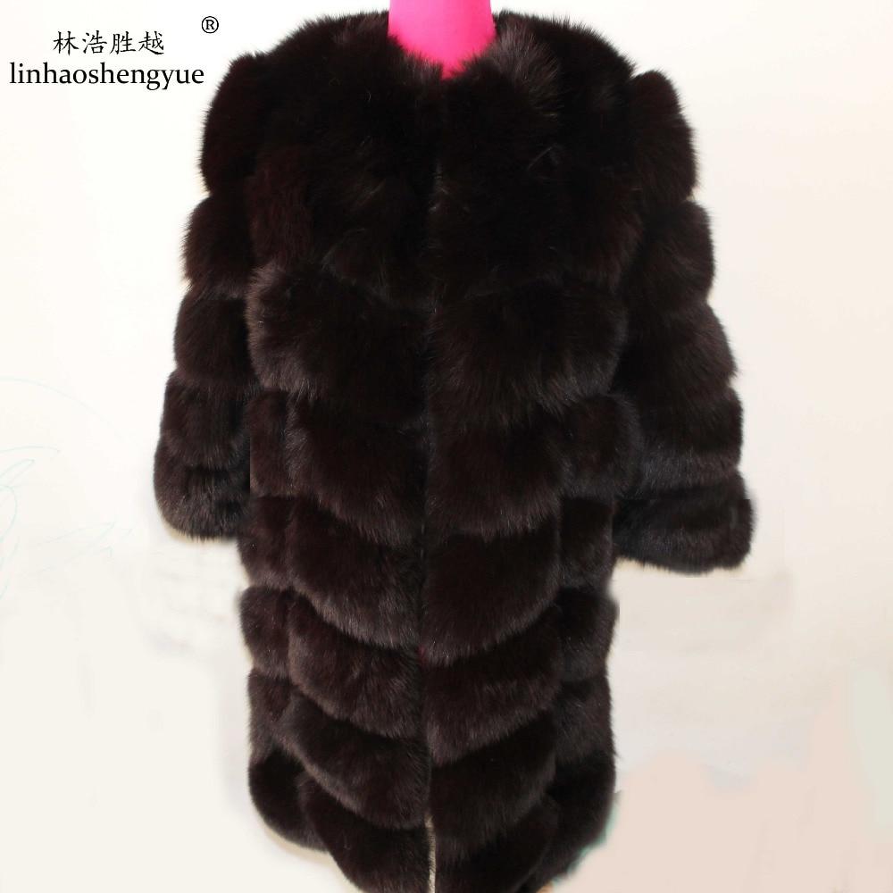 Linhaoshengyue 90CM langen echten Fuchs Pelzmantel mit 50cm Ärmeln - Damenbekleidung - Foto 1