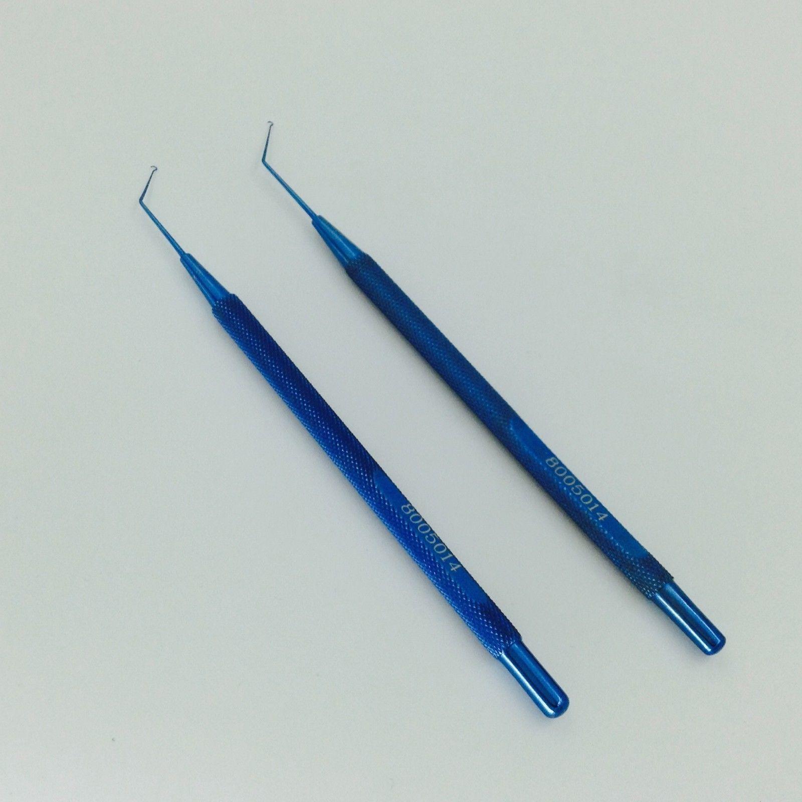 2PCS NEW titanium Jaffe-Knolle Iris Hook ophthalmic instrument