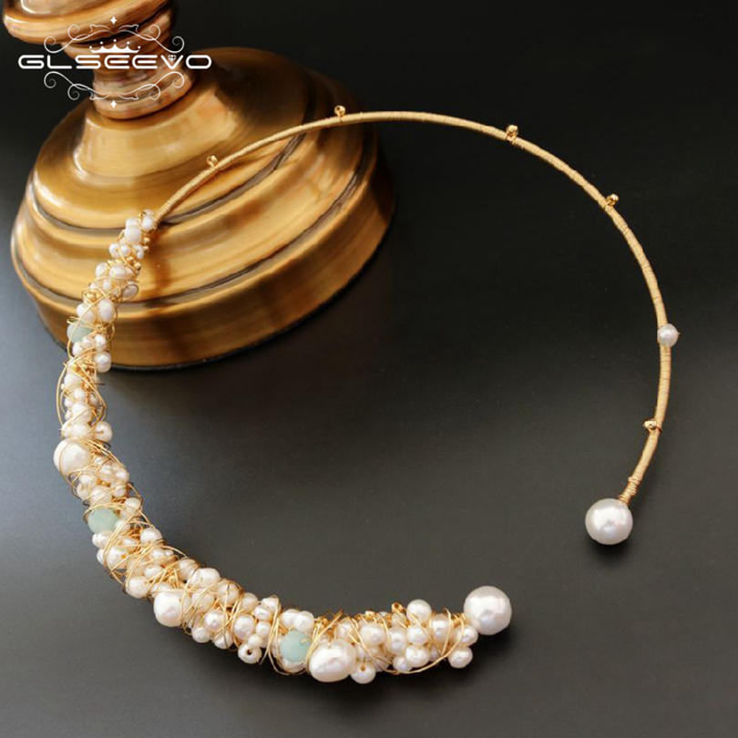 GLSEEVO Natural Blue Stone Fresh Water Pearl Chokers Necklaces For Women Necklaces Luxury Fine Jewelry Bisuteria Mujer GN0050 glseevo natural fresh water pearl chokers necklace for women handmade necklaces luxury fine jewelry gargantilha kolye gn0047