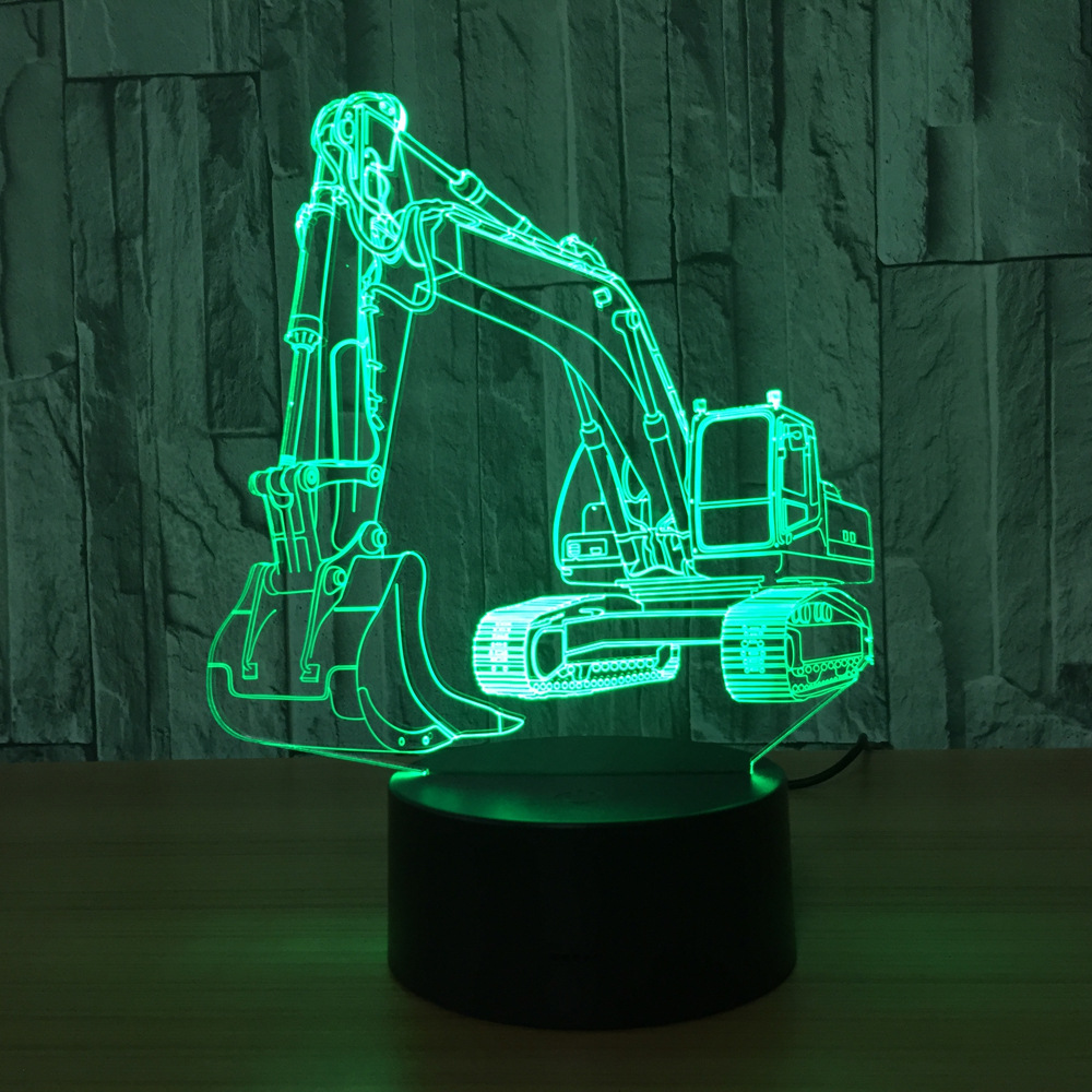 Excavator 7 Color Lamp 3d Visual Led Night Lights For Kids Touch ...