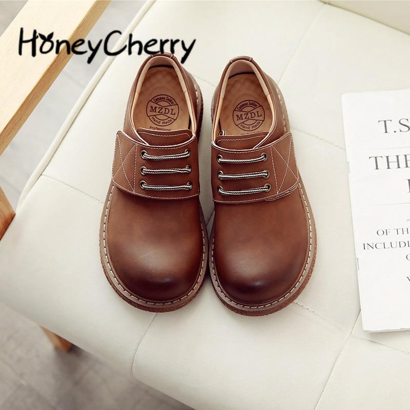 40 kaki Appartements Taille Avec Chaussures marron 35 Femme En Students'uniform Plat Petit Cuir Chaussure Noir BA6vxqfw