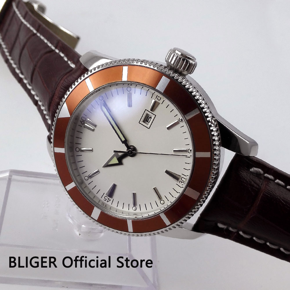 Classic BLIGER 46MM White Sterile Dial Brown Rotating Bezel Luminous Hand MIYOTA Automatic Movement Men's Wrist Watch B52
