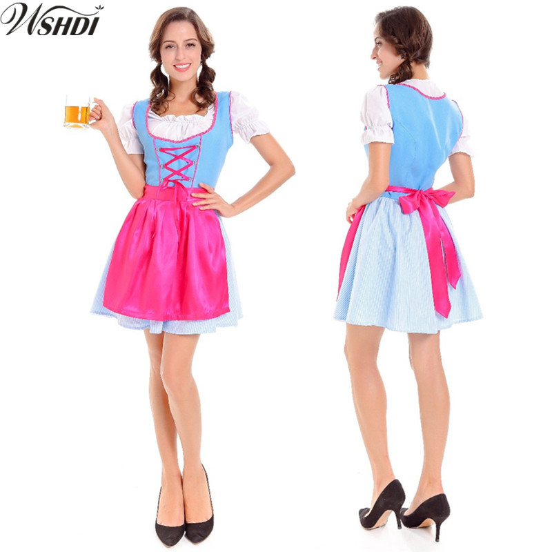 New ! German Oktoberfest October Dirndl Skirt Dress Apron Blouse Gown 2018 Bavarian Beer Festival Girl Fancy Dress