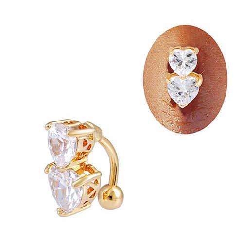 שיק הפוך קריסטל זירקון בר בטן טבעת זהב פירסינג כפתור טבור שני לבבות