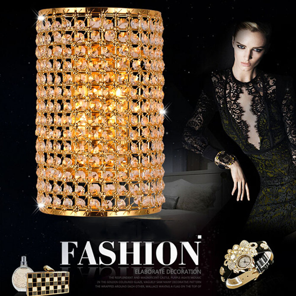 Wall lamps modern simple crystal LED wall lamp living room bedroom bedside aisle fashion creative European wall lamp