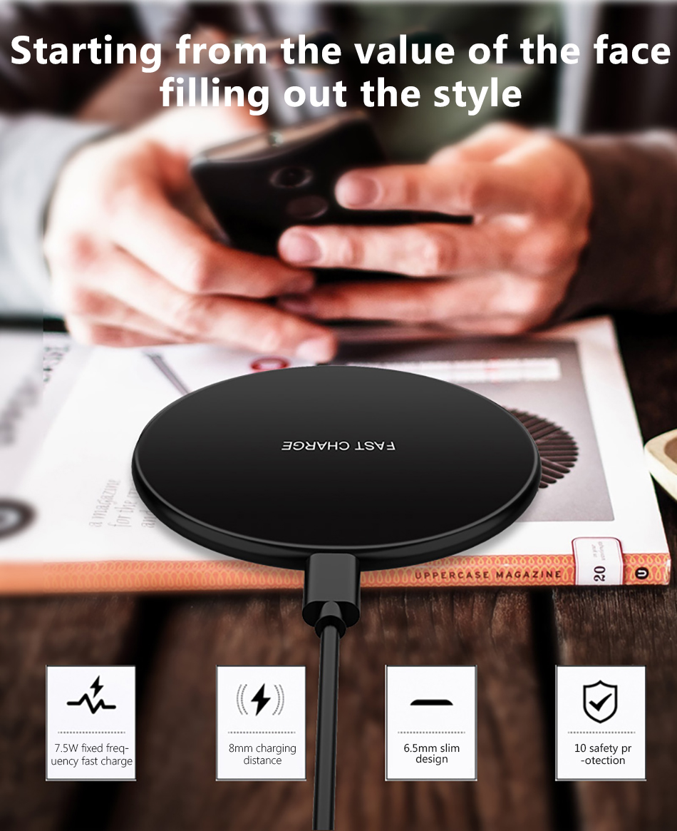 !ACCEZZ Qi Wireless Charging 7.5W 10W For Samsung Galaxy S8 S9 Plus Note 8 Universal Fast Charge For iPhone 8 Plus XS XR Charger (2)