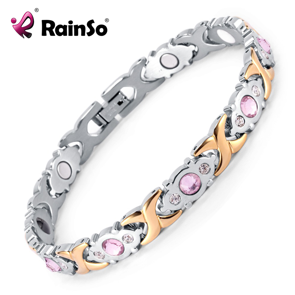 2017 Rainso Crystal Gem Woman Bracelet Stainless Steel Health Energy Magnetic Gold Fashion Jewelry Lady Bracelets