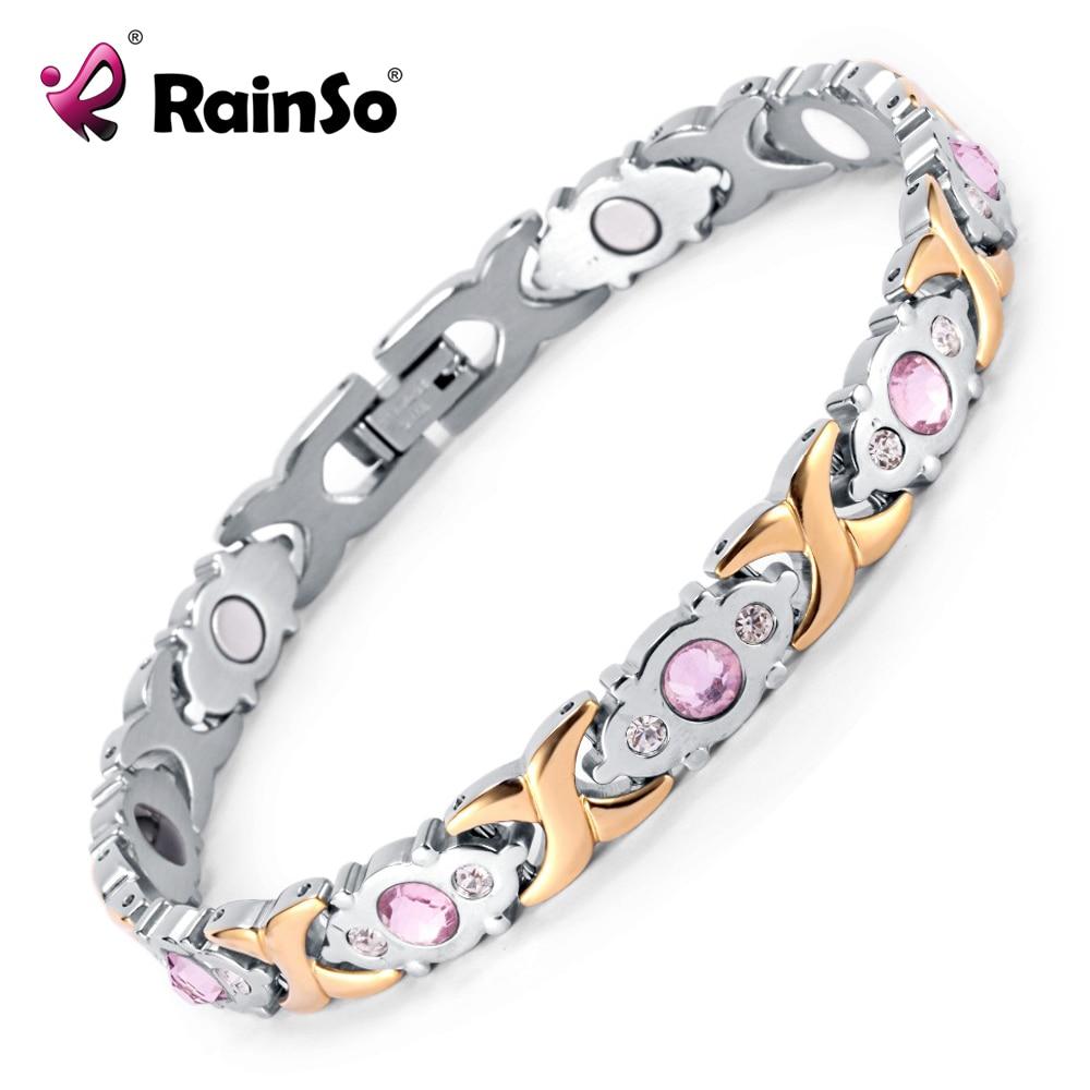 Rainso Crystal Gem Kvinna Armband Rostfritt Stål Hälsa Energi Magnetic Gold Fashion Smycken Lady Armband Present till Flickor
