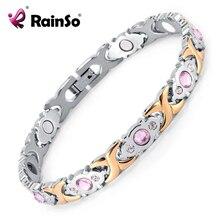 Rainso Crystal Gem Woman Bracelet Stainless Steel Health Ene
