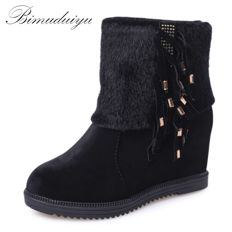 BIMUDUIYU Season Change Clearance Women's All Match Winter Boots Warm Snow Boots Short Plush Fashion Style Black Brown Color пена монтажная mastertex all season 750 pro всесезонная