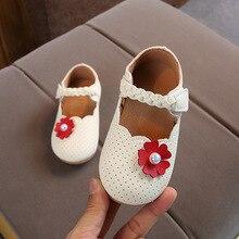 Детская кожаная обувь с цветочным узором для маленьких девочек; дышащие модельные туфли с жемчугом для девочек; Новинка; 1, 2, 3 года