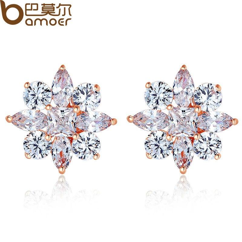 BAMOER Gold Color Stud Earrings with Flower Shape with AAA Zircon For Women Classic Jewelry JIE046