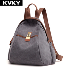 Kvky бренд Винтаж холст Для женщин Рюкзаки унисекс одноцветное Школьные сумки Повседневное путешествия Для мужчин рюкзак для девочек-подростков Mochila Feminina