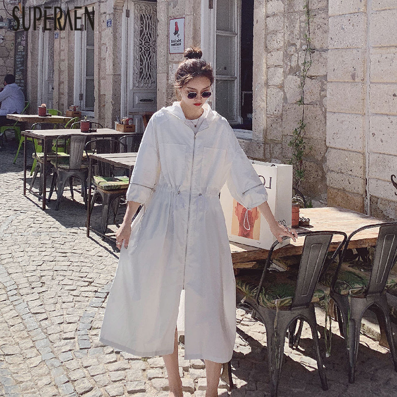 SuperAen Hooded Drawstring Trench Coat for Women Autumn New 2019 Casual Ladies Windbreaker Fashion Women Sunscreen