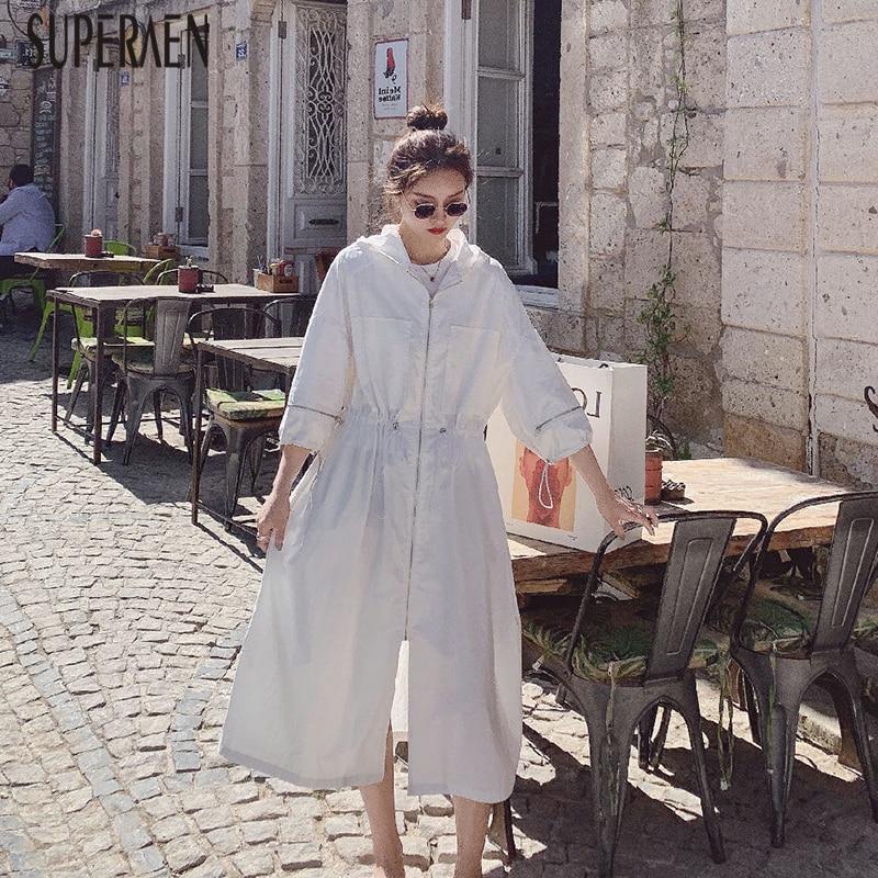 SuperAen z kapturem sznurkiem trencz dla kobiet jesień nowy 2019 na co dzień panie wiatrówka moda kobiety krem do opalania w Trencze od Odzież damska na  Grupa 1