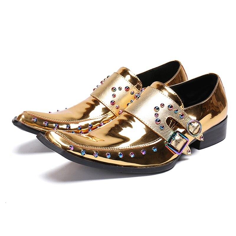 Brevet En Mariage Italien Taille Sl225 Bout Homme Sangles De Nuptiale Pointu Or Plus Punk Mocassins Chaussures Luxe Hommes Cuir Moine La Banquet 7v85xWn