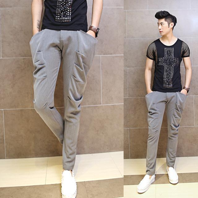 2017 versão Coreana de calças casuais harem pants calças dos homens vestuário de moda personalidade maré masculino cabeleireiro