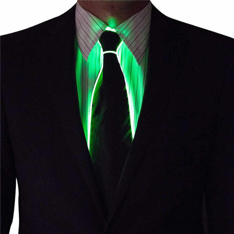 Männer Glühende Krawatte EL Draht Neon LED Leucht Partei Haloween Weihnachten Leuchtende Licht Up Dekoration DJ Bar Club Bühne Prop kleidung